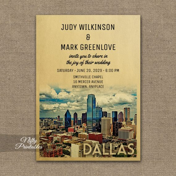 Dallas Wedding Invitation PRINTED