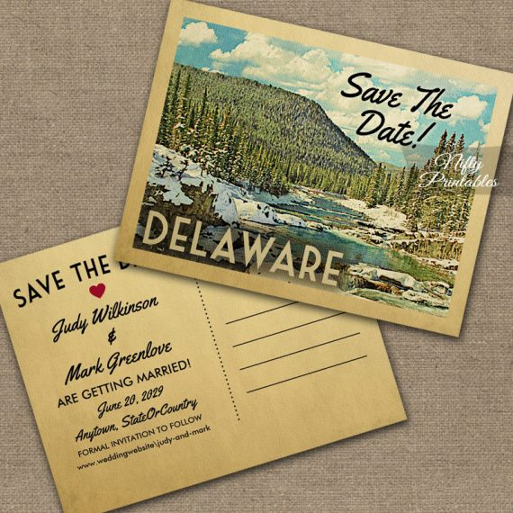 Delaware Save The Date Snowy Nature PRINTED