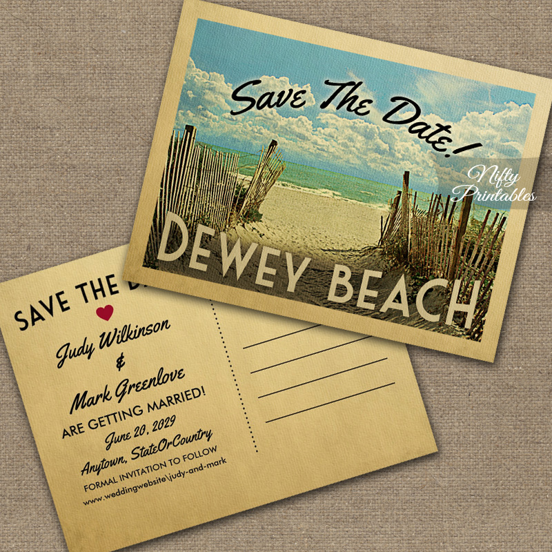 Dewey Beach Save The Date Beach PRINTED