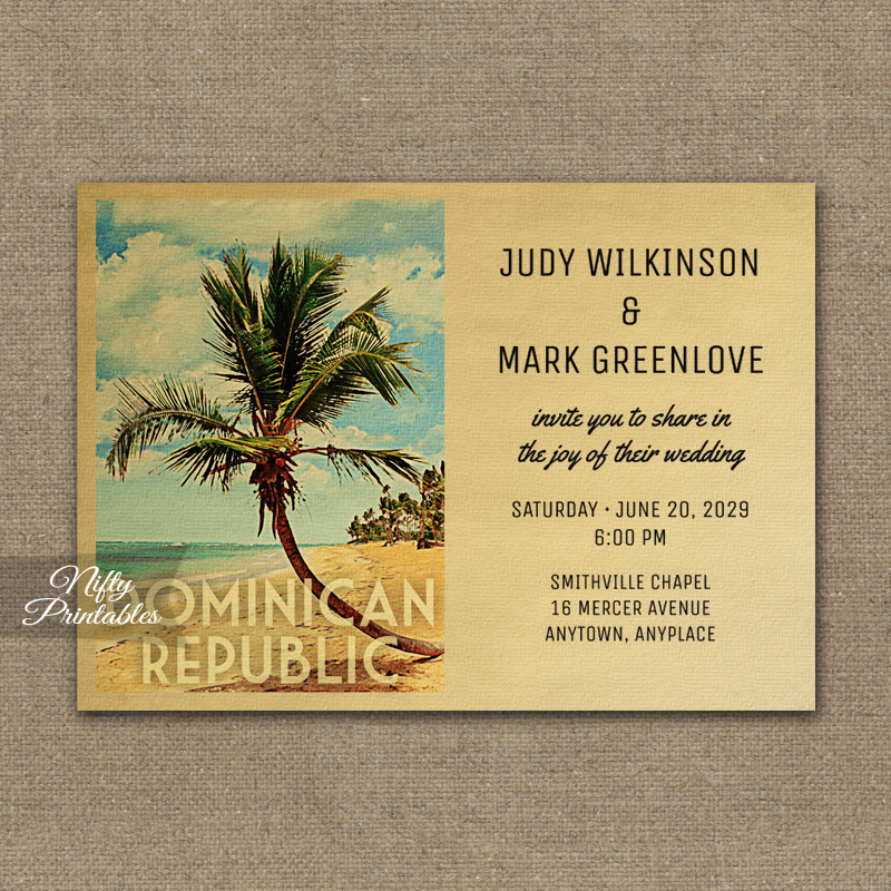 Dominican Republic Wedding Invitation Palm Tree PRINTED