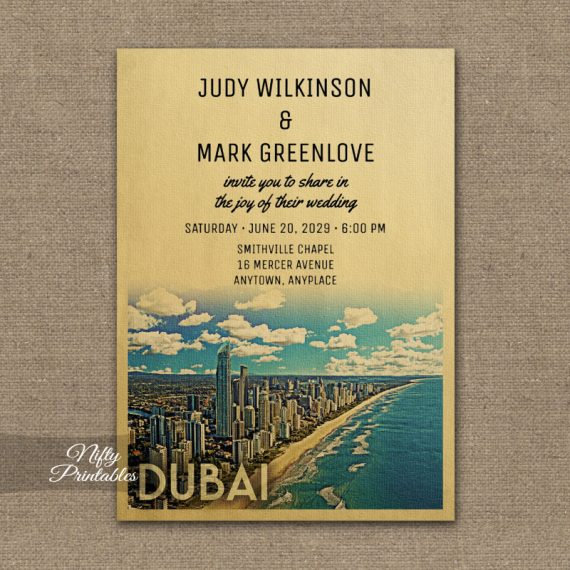 Dubai Wedding Invitation PRINTED