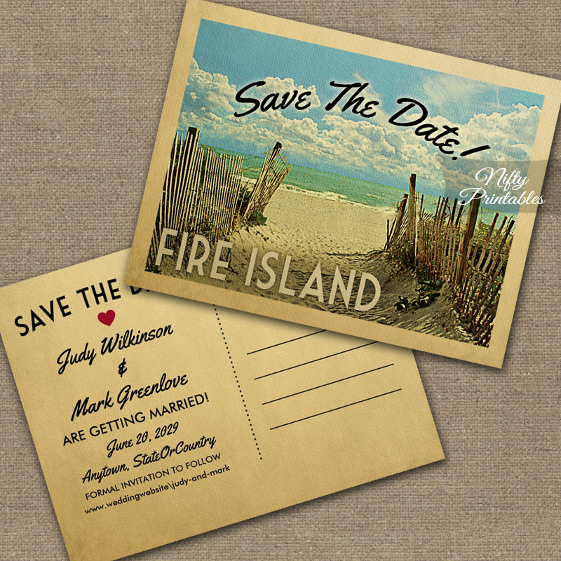 Fire Island Save The Date Beach PRINTED