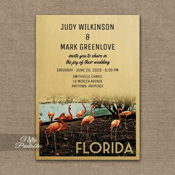 Florida Wedding Invitation PRINTED