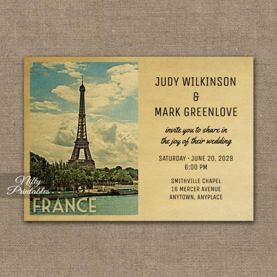 France Wedding Invitation PRINTED