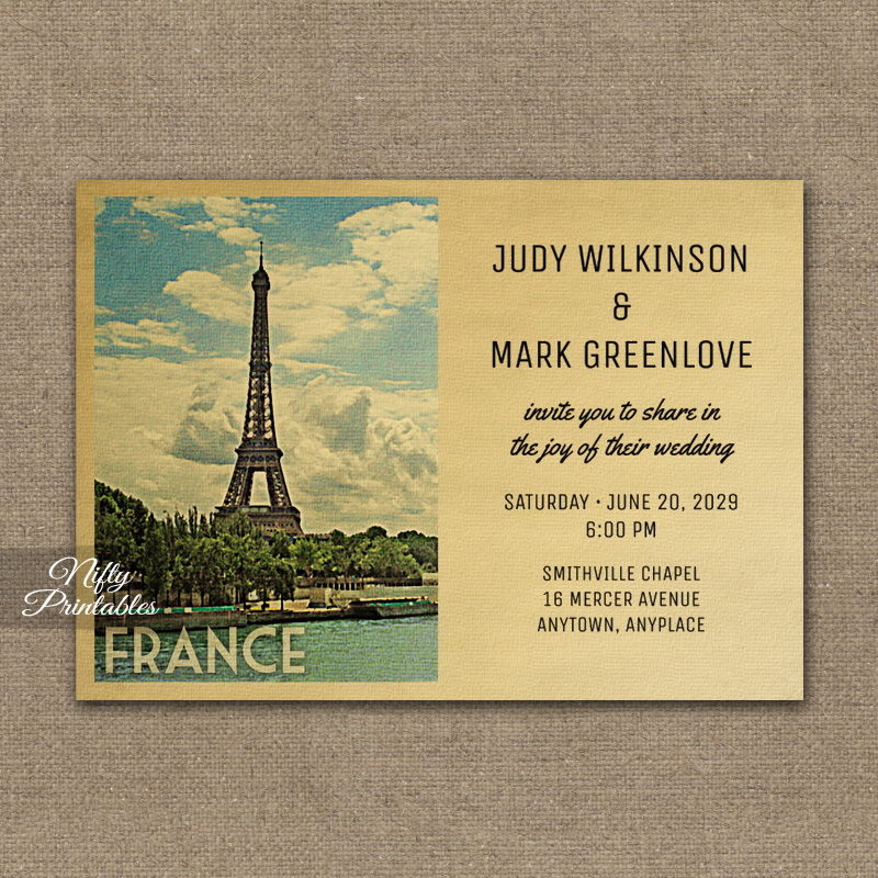 France Wedding Invitation PRINTED