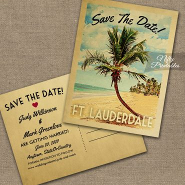 Ft Lauderdale Save The Date Palm Tree PRINTED