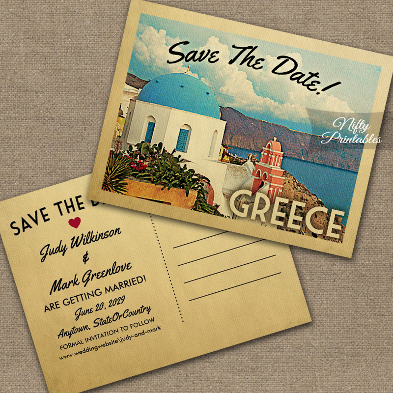 Greece Save The Date PRINTED