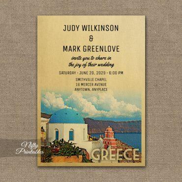 Greece Wedding Invitation PRINTED
