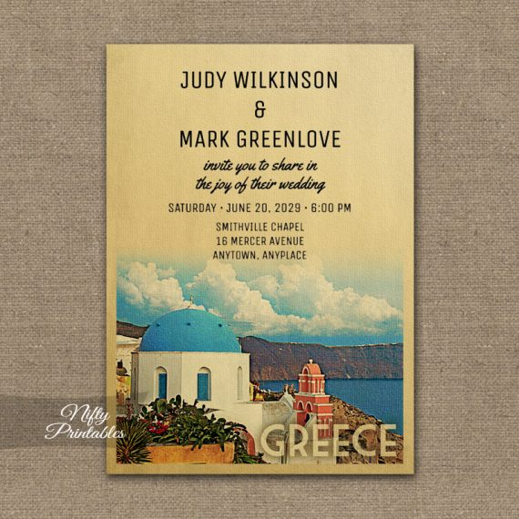 Greece Wedding Invitation PRINTED