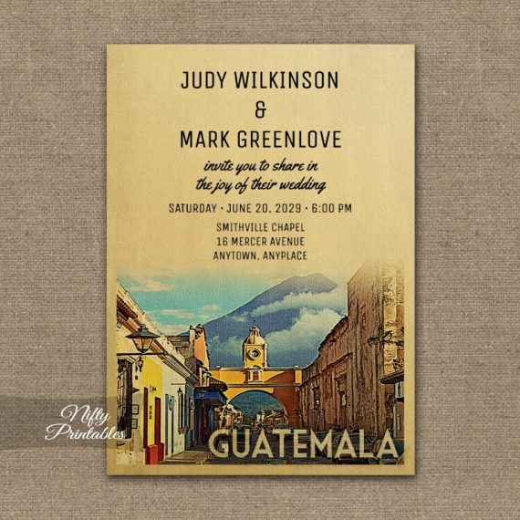 Guatemala Wedding Invitation PRINTED