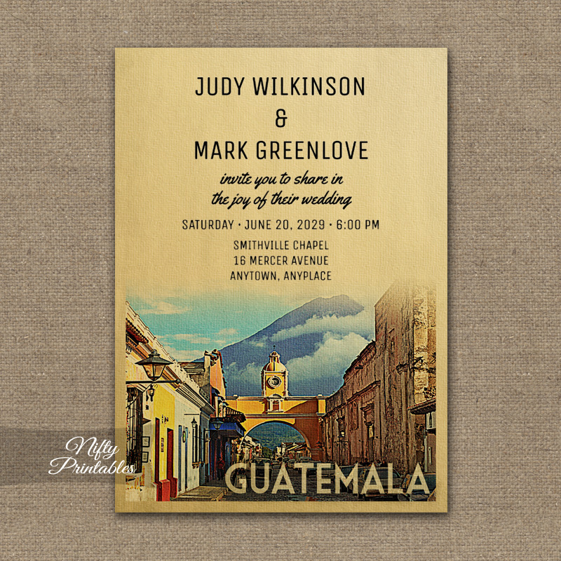 Guatemala Wedding Invitation PRINTED
