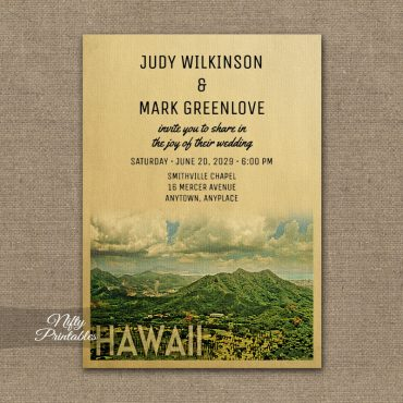 Hawaii Wedding Invitation PRINTED