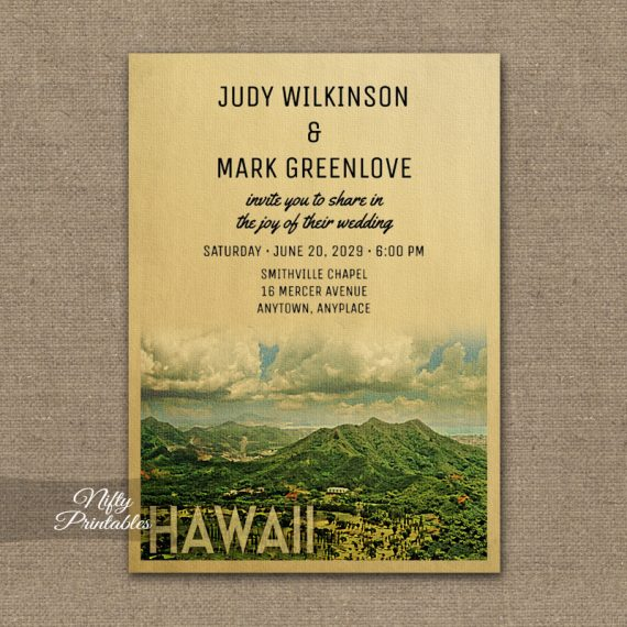 Hawaii Wedding Invitation PRINTED