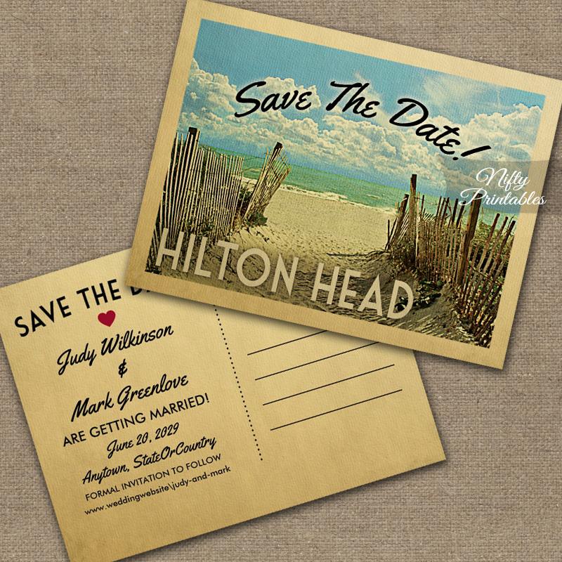 Hilton Head Save The Date Beach PRINTED