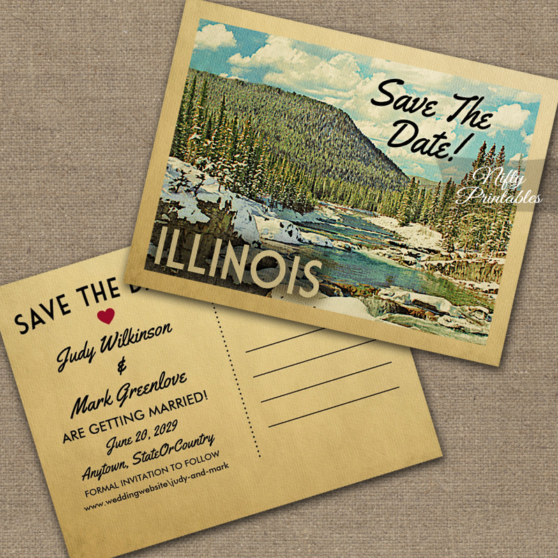 Illinois Save The Date Snowy Nature PRINTED