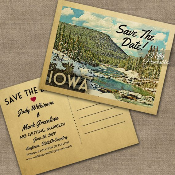 Iowa Save The Date Snowy Nature PRINTED