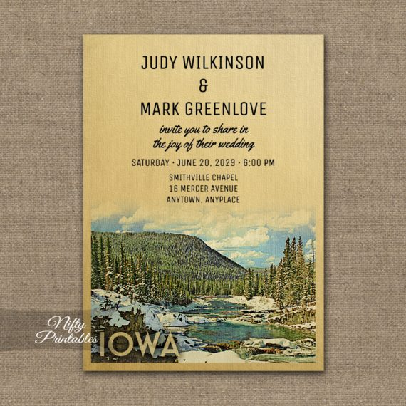 Iowa Wedding Invitation Snow Nature PRINTED