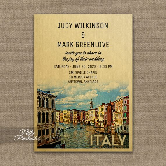 Italy Wedding Invitation PRINTED