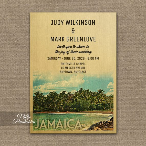 Jamaica Wedding Invitation PRINTED