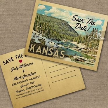 Kansas Save The Date Snowy Nature PRINTED