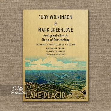 Lake Placid Wedding Invitation PRINTED