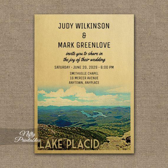 Lake Placid Wedding Invitation PRINTED