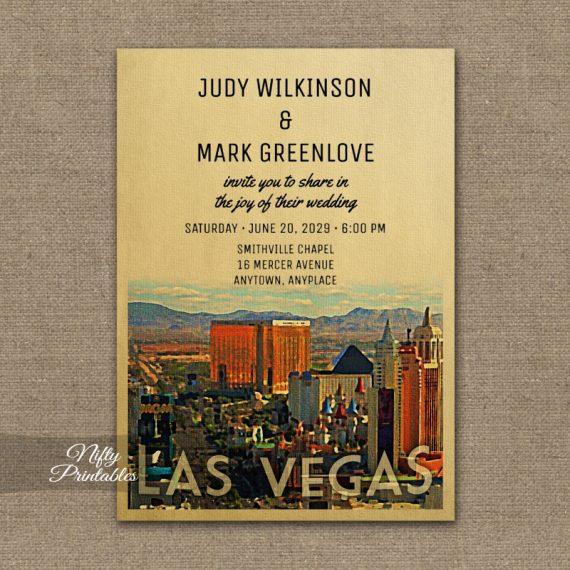 Las Vegas Wedding Invitation PRINTED