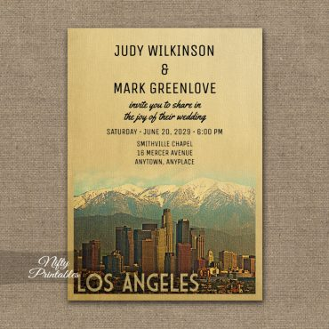 Los Angeles Wedding Invitation PRINTED