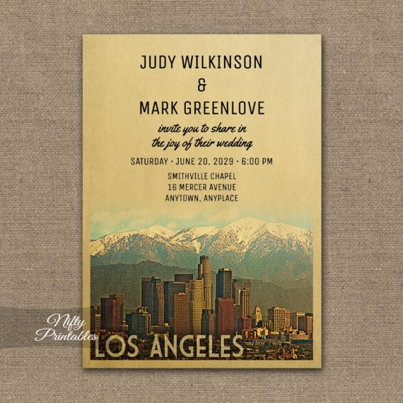 Los Angeles Wedding Invitation PRINTED