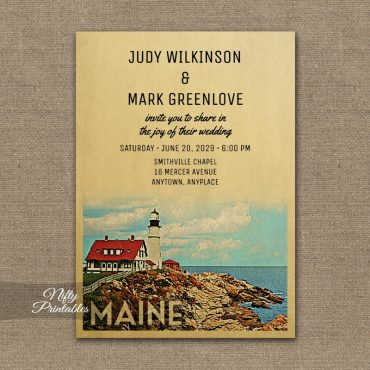 Maine Wedding Invitation PRINTED