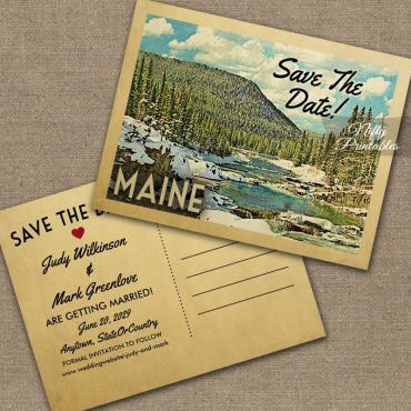 Maine Save The Date Snowy Nature PRINTED