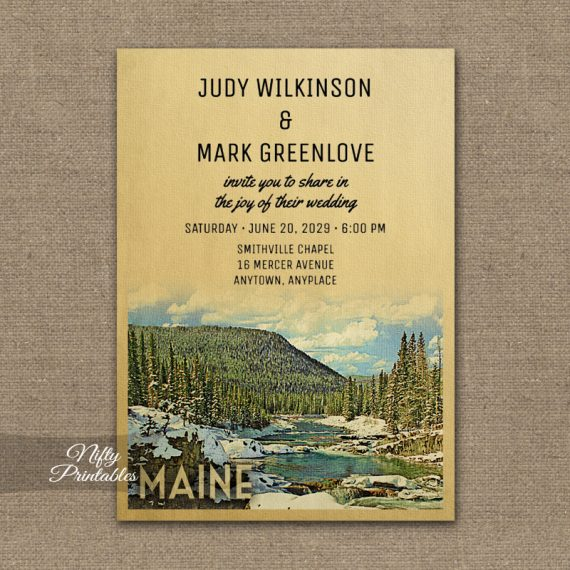Maine Wedding Invitation Snow Nature PRINTED