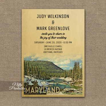 Maryland Wedding Invitation Snow Nature PRINTED