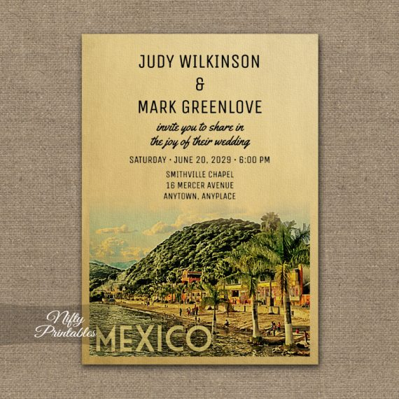 Mexico Wedding Invitation PRINTED