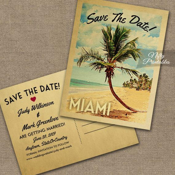 Miami Save The Date Palm Tree PRINTED