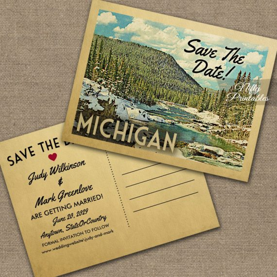 Michigan Save The Date Snowy Nature PRINTED