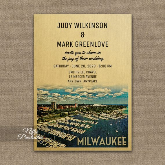 Milwaukee  Wedding Invitations PRINTED