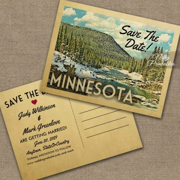 Minnesota Save The Date Snowy Nature PRINTED