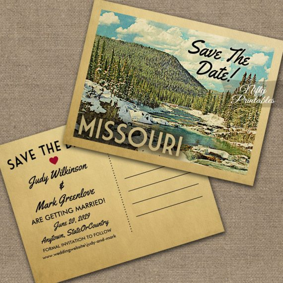 Missouri Save The Date Snowy Nature PRINTED