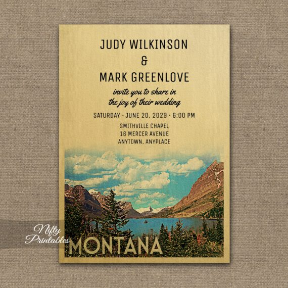 Montana Wedding Invitation PRINTED