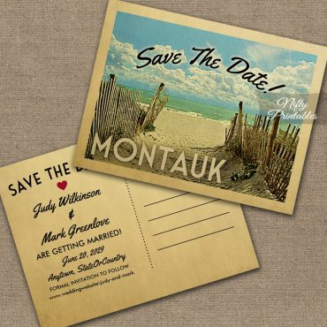 Montauk Save The Date Beach PRINTED