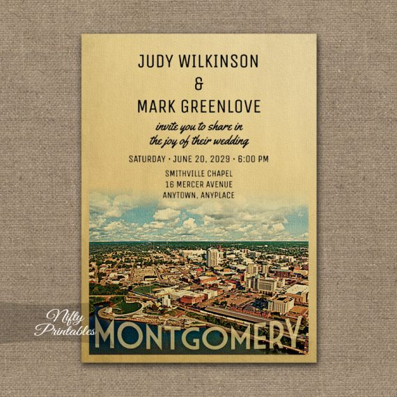 Montgomery Wedding Invitation PRINTED
