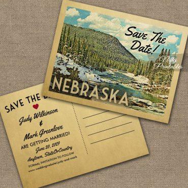 Nebraska Save The Date Snowy Nature PRINTED