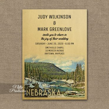 Nebraska Wedding Invitation Snow Nature PRINTED