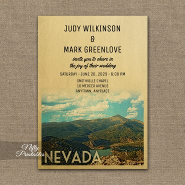 Nevada Wedding Invitation PRINTED