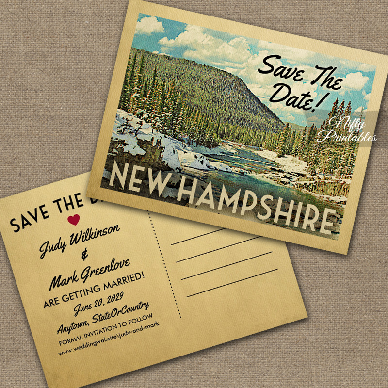 New Hampshire Save The Date Snowy Nature PRINTED