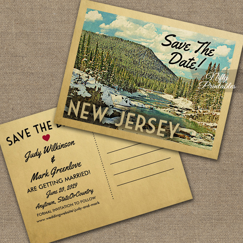 New Jersey Save The Date Snowy Nature PRINTED