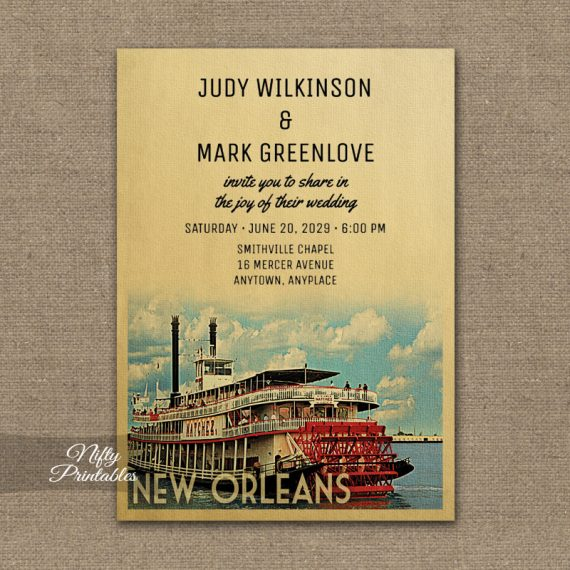 New Orleans Wedding Invitation PRINTED