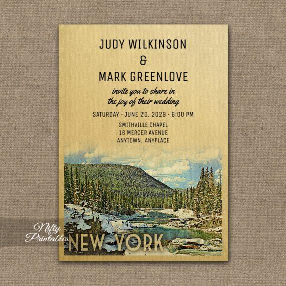 New York Wedding Invitation Snow Nature PRINTED