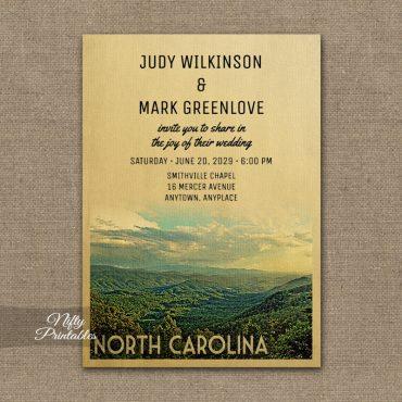 North Carolina Wedding Invitation PRINTED